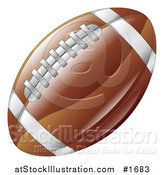 Vector Illustration of a Shiny Brown American Football with Stitches and Stripes by AtStockIllustration