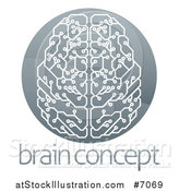 Vector Illustration of a Shiny Circuit Board Artificial Intelligence Computer Chip Brain in a Circle over Sample Text by AtStockIllustration