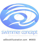 Vector Illustration of a Shiny Gradient Blue Abstract Swimmer Doing the Butterfly in Waves over Sample Text by AtStockIllustration