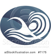 Vector Illustration of a Shiny Gradient Dark Blue Abstract Swimmer Doing the Butterfly in Waves by AtStockIllustration