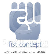 Vector Illustration of a Shiny Gradient Fisted Hand over Sample Text by AtStockIllustration