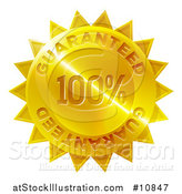 Vector Illustration of a Shiny Gradient Golden Star Shaped 100 Percent Guaranteed Metal Award Badge by AtStockIllustration
