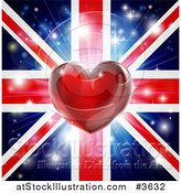 Vector Illustration of a Shiny Heart over a Union Jack with Fireworks by AtStockIllustration
