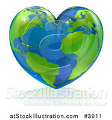 Vector Illustration of a Shiny Heart Shaped Earth by AtStockIllustration