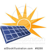 Vector Illustration of a Shiny Orange Sun Shining Behind a Blue Solar Panel Photovoltaics Cell by AtStockIllustration