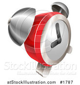 Vector Illustration of a Shiny Red and Chrome Bell Alarm Clock by AtStockIllustration