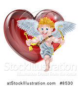 Vector Illustration of a Shiny Red Heart and Cupid by AtStockIllustration
