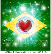 Vector Illustration of a Shiny Red Heart and Fireworks over a Brazil Flag by AtStockIllustration