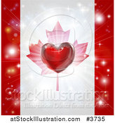 Vector Illustration of a Shiny Red Heart and Fireworks over a Canadian Flag by AtStockIllustration