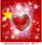 Vector Illustration of a Shiny Red Heart and Fireworks over a Chinese Flag by AtStockIllustration