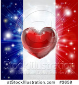 Vector Illustration of a Shiny Red Heart and Fireworks over a French Flag by AtStockIllustration