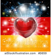 Vector Illustration of a Shiny Red Heart and Fireworks over a German Flag by AtStockIllustration