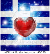 Vector Illustration of a Shiny Red Heart and Fireworks over a Greek Flag by AtStockIllustration