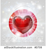 Vector Illustration of a Shiny Red Heart and Fireworks over a Japanese Flag by AtStockIllustration