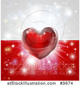 Vector Illustration of a Shiny Red Heart and Fireworks over a Poland Flag by AtStockIllustration
