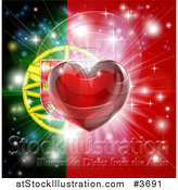 Vector Illustration of a Shiny Red Heart and Fireworks over a Portugese Flag by AtStockIllustration