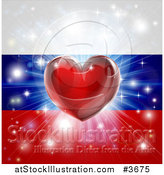 Vector Illustration of a Shiny Red Heart and Fireworks over a Russia Flag by AtStockIllustration