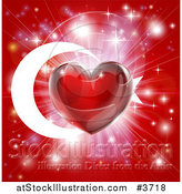 Vector Illustration of a Shiny Red Heart and Fireworks over a Turkey Flag by AtStockIllustration