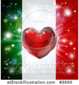 Vector Illustration of a Shiny Red Heart and Fireworks over an Italian Flag by AtStockIllustration