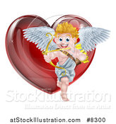 Vector Illustration of a Shiny Red Heart and Valentines Day Cupid Aiming an Arrow by AtStockIllustration