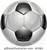 Vector Illustration of a Shiny White and Black Soccer Ball or Football by AtStockIllustration
