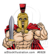 Vector Illustration of a Shirtless Muscular Gladiator Gladiator Man in a Helmet, Flexing His Bicep and Holding a Sword, from the Waist up by AtStockIllustration