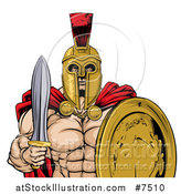 Vector Illustration of a Shirtless Muscular Gladiator Man in a Helmet, Holding a Sword and Shield, from the Waist up by AtStockIllustration