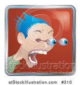 Vector Illustration of a Shocked Man with Blue Hair, His Eyes Popping out of Their Sockets by AtStockIllustration