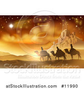 Vector Illustration of a Shooting Star of David over the Wise Men and Bethlehem by AtStockIllustration