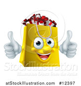Vector Illustration of a Shopping Bag Mascot Full of Christmas Gifts by AtStockIllustration