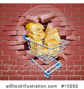 Vector Illustration of a Shopping Cart and SALE Crashing Through a 3d Red Brick Wall by AtStockIllustration