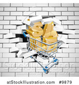 Vector Illustration of a Shopping Cart and SALE Crashing Through a 3d White Brick Wall by AtStockIllustration