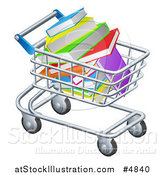 Vector Illustration of a Shopping Cart Full of Books by AtStockIllustration