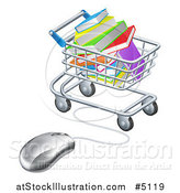 Vector Illustration of a Shopping Cart Full of Books, Wired to a Computer Mouse by AtStockIllustration