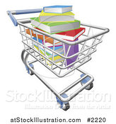Vector Illustration of a Shopping Cart of Colorful 3d Books by AtStockIllustration