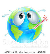Vector Illustration of a Sick Globe with a Fever and Thermometer by AtStockIllustration