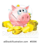 Vector Illustration of a Sick Piggy Bank with a Fever and Bursting Thermometer and Gold Coins by AtStockIllustration
