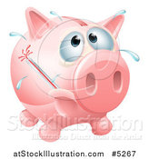 Vector Illustration of a Sick Piggy Bank with a Fever and Bursting Thermometer by AtStockIllustration