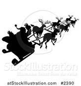Vector Illustration of a Silhouette of Santa Waving and Flying past in His Reindeer Sleigh by AtStockIllustration