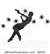 Vector Illustration of a Silhouetted Action Hero Leaping Through the Air and Shooting by AtStockIllustration