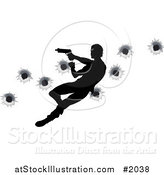 Vector Illustration of a Silhouetted Action Hero Shooting, over Bullet Holes by AtStockIllustration