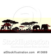 Vector Illustration of a Silhouetted African Animals and Trees at Sunset by AtStockIllustration