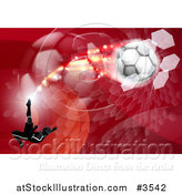 Vector Illustration of a Silhouetted Athlete Kicking a Soccer Ball over Red Waves Balls and Hexagons by AtStockIllustration