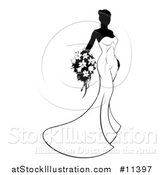Vector Illustration of a Silhouetted Black and White Bride Holding a Bouquet by AtStockIllustration