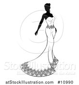 Vector Illustration of a Silhouetted Black and White Bride in a Strapless Dress by AtStockIllustration