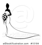 Vector Illustration of a Silhouetted Black and White Bride in a Wedding Gown by AtStockIllustration