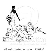 Vector Illustration of a Silhouetted Black and White Bride in a Wedding Gown, with Swirls by AtStockIllustration
