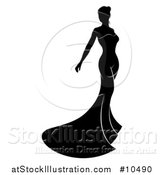 Vector Illustration of a Silhouetted Black and White Bride in Her Dress by AtStockIllustration