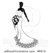 Vector Illustration of a Silhouetted Black and White Bride in Her Dress, Holding a Bouquet by AtStockIllustration