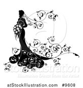 Vector Illustration of a Silhouetted Black and White Bride in Her Dress, Holding a Bouquet, with Floral Swirls by AtStockIllustration